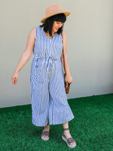 Striped Jumpsuit & Leopard Espadrilles